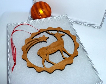 Personalized Deer with Star Ornament Alder Wood Engraved with the Year