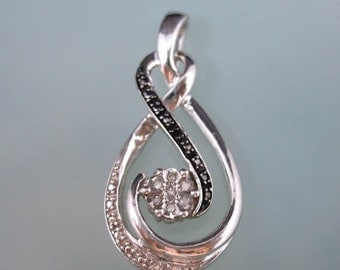 70% OFF MOVING SALE Really Pretty --Natural Diamond 925 -- Black and White Diamond-- Eternal Love Pendant Necklace