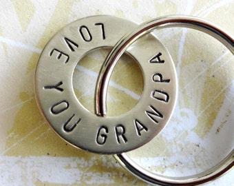 GRANDPA keychain - Love You Grandpa Grandparent Christmas Birthday Hand Stamped Nickel Silver Key Chain