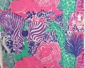 Vintage Lilly Pulitzer Fabric Zek's Zoo by Zuzer Key West Hand Print 1 Yard
