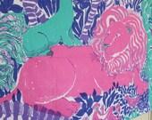 Vintage Lilly Pulitzer Fabric Zek's Zoo by Zuzer Key West Hand Print