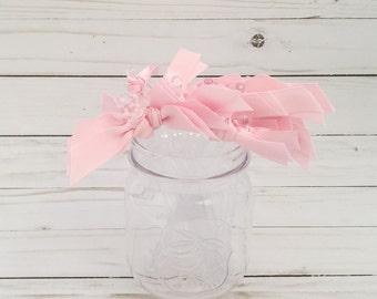 Blush Pink Grosgrain ribbon cocktail stirrers - 25 count - Clear drink stir sticks