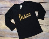 Any number gold glitter black long sleeve tee