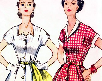 Simplicity 3878 Bust 32 UNCUT Misses Dress Day with Button down Bodice and Kimono Sleeve c1952