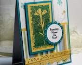 "Thinking of You Card - 3D Handmade Greeting Card - 4.25 x 5.5"" Stampin Up Friendship Warms the Heart Flowers Just Because   - OOAK"