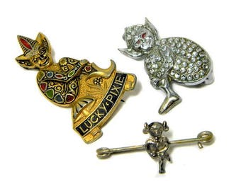 Three Vintage English Pins/Brooches Two Pixies and an Imp