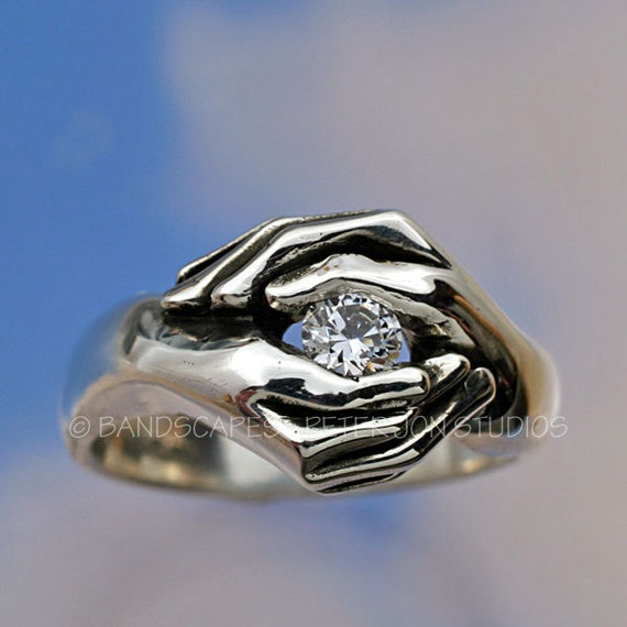 TWO HANDS Friendship ring, Sterling Silver and with your choice of stone. Fede Ring, Gimmel Ring