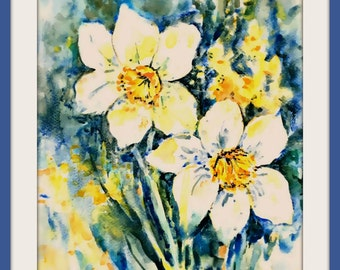 Daffodil Watercolor White Flower Spring by Martha Kisling Art With Heart