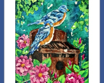 Watercolor Birds, Birdhouse Painting,Batik,Pink Flowers, Blue Birds, Bird Art, Martha Kisling