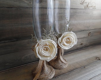 Ready to Ship ~~~ Rustic Wedding Twine Wrapped Champagne Toasting Flute Glasses with Sola Flowers.
