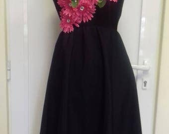 Black dress with pink flowers