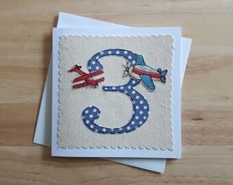 boy's age 3 birthday card, planes