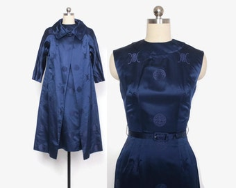 Vintage 60s DRESS Set / 1960s Midnight Blue SILK Brocade Sheath Dress & Jacket 2 Piece Set XS