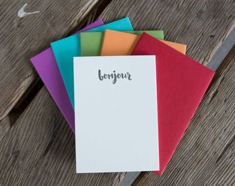 Bonjour Stationery Set, note card 10 pack, letterpress printed eco friendly.
