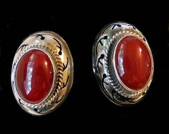 Vintage Sterling Silver And Carnelian Pierced Earrings