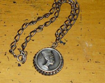 Silvertone Necklace - Egyptian - Nefertiti Pendant