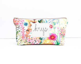 Personalized Bridesmaid Cosmetic Bags, Liberty Tana Lawn Jewelry Bag, Set of 3 or More Embroidered Personized Makeup Pouches, MADE TO ORDER