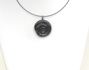 Black Ceramic Pendant Round Clay Necklace Rustic Contemporary Pottery Jewelry Modern Statement Piece