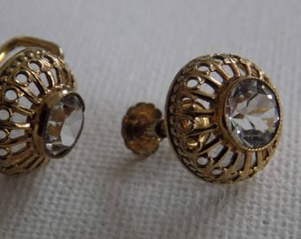 Vintage earrings, rolled gold and crystal screw back earrings,vintage jewelry
