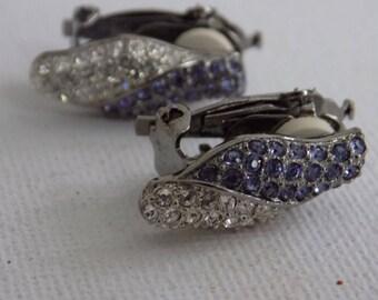 Vintage earrings, signed earrings, indigo earrings, Butler FAC earrings, clip-on earrings, snake heads,jewelry