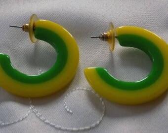 Vintage earrings, hiphop earrings, yellow and green plastic hoop stud earrings,  vintage jewelry