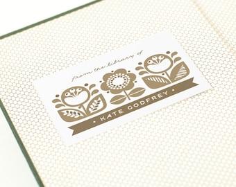 Custom Bookplate Label, Personalized Bookplates // DANISH GARDEN