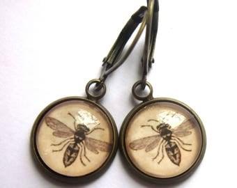 Bee Earrings Vintage Style Sepia Glass Retro Fashion Jewelry