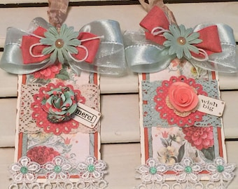Shabby Gift Tags, Birthday Gift Tag, Merci Gift Tag, Vintage Style Tags, Embellished Tags, OOAK