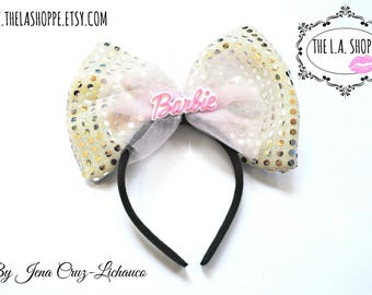 Pearl/Pink 80's Barbie Tulle Sequin Bow Headband