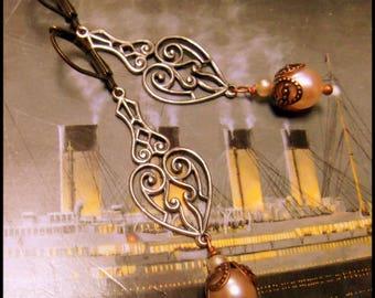 Edwardian Pearls and Copper Earrings, Pearls are a Girl's Best Friend, Downton Abbey Earrings. Silver Filigree Earrings, Romantic Victorian