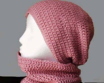 Pink Hat & Cowl set crochet slouchy beanie and neck warmer snood woman's fashion cozy knitwear by Peace Stitch Studio