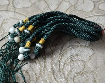 2strands 5mm Thick green Cord With Natural jadeite Beads 10mm charm rope