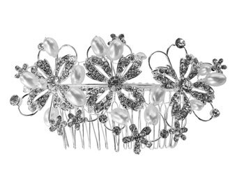 Unik Occasions Pearl Crystal Flower Hair Comb - Style 34