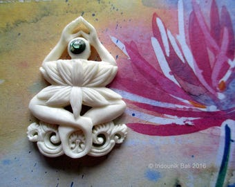 Personification of Padma Carved Bone Pendant with Abalone Shell Accent