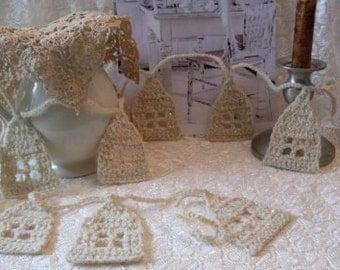 Crochet House Garland Home Decor, Shabby chic decor  Rue23paris  We Ship Internationally