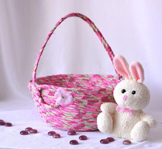 Elegant Spring Basket, Flower Girl Basket, Handmade Fabric Basket, Pink Wedding Basket, Pink Candy Bowl, Easter Decoration