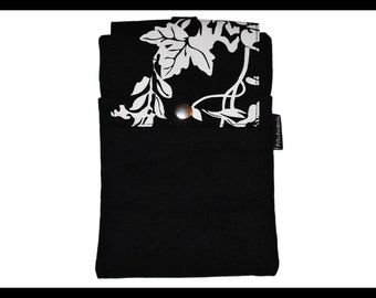 Black & White Rose Twill Zipper Cell Phone Holder, Wallet, iPhone Case, Samsung Case, Droid, Phone Case