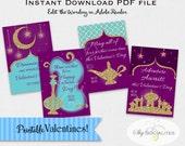 Arabian Nights Valentines | Aladdin Valentines | Genie Valetines | Fortune, Wishes, Dream | Editable for Valentines or notecards