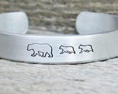 Cuff Mama Bear Bracelet Baby Bear Cub Hand Stamped Jewelry Aluminum Gift For Mom Grandma Grandmother New Mother Birthday New Mom Mothers Day