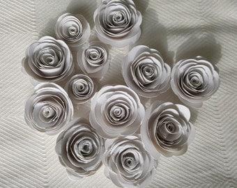 set of one dozen 12 mini spiral paper roses scrapbook embellishments wedding decor