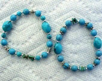 Turquoise & Silver Bracelets Faux Stones and Filigree Silver Tone Beads Vintage Set American Indian Style