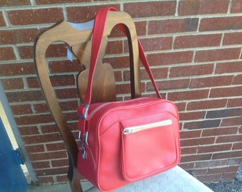 Red Coral American Tourister Carry On Overnight Duffle Tote Bag Luggage