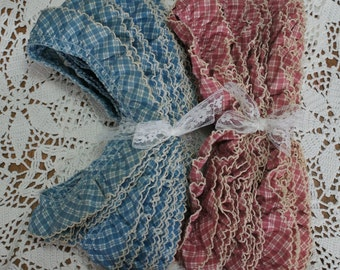 Vintage Lot of Cotton Ruffles in Blue Plaid and Pink Plaid 22-1/2 yards