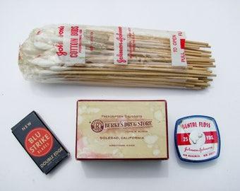 Vintage Drugstore Medical Merchandise Razor Blades Dental Floss Cotton Swabs Pharmacy Box Medicine Cabinet