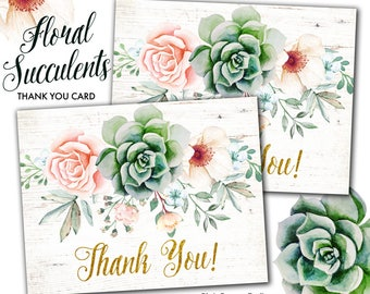 Floral Succulent Boho Chic Folded Type Printable Thank You Card, Succulent Protea Anemone Rustic Party Printables