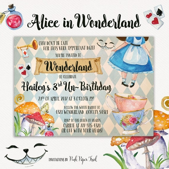 Alice In Wonderland Invitation Alice Invite Tea Party Onederland