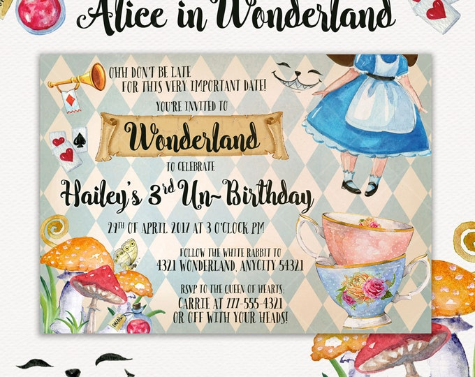 Alice In Wonderland Invitation, Alice Invite, Tea Party, Onederland Party, Birthday Unbirthday Invitation, Printable Invitation