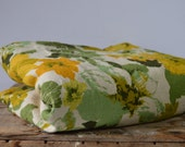 Vintage Cotton Floral Fabric Yellow and Green 1960s 1970s Large Print Flowers on White Background Upholstery Window Treatments Handbags