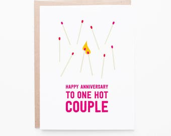 Anniversary Greeting Card | One Hot Couple Celebration Card | Marriage, Matches, Fire