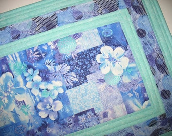 Floral Table Runner or Wall Hanging, quilted, fabric from Paintbrush Studio